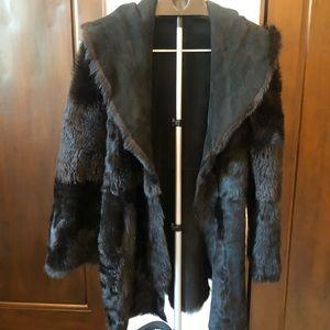 Joseph - Black Shearling Suede Reversible Coat